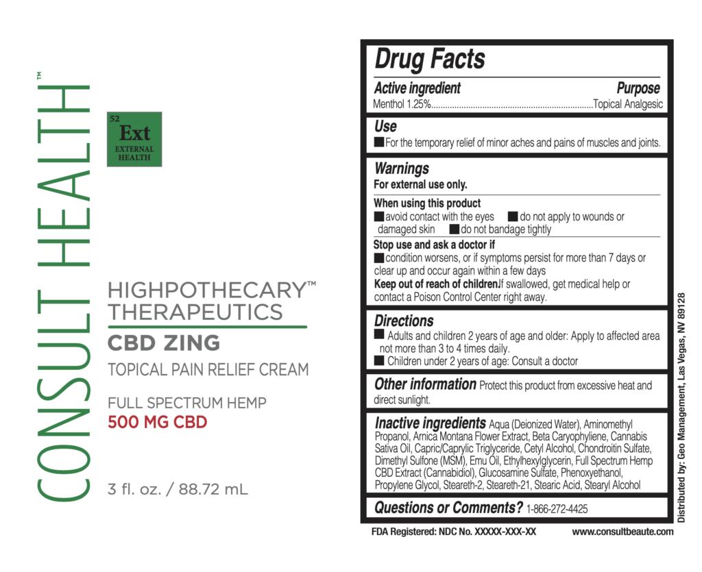 HIGHpothecary CBD ZING label
