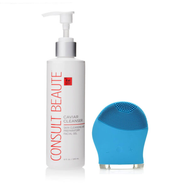 CB Multi Speed Sonic Cleansing Tool w Supersize Caviar Cleanser 32 oz blue