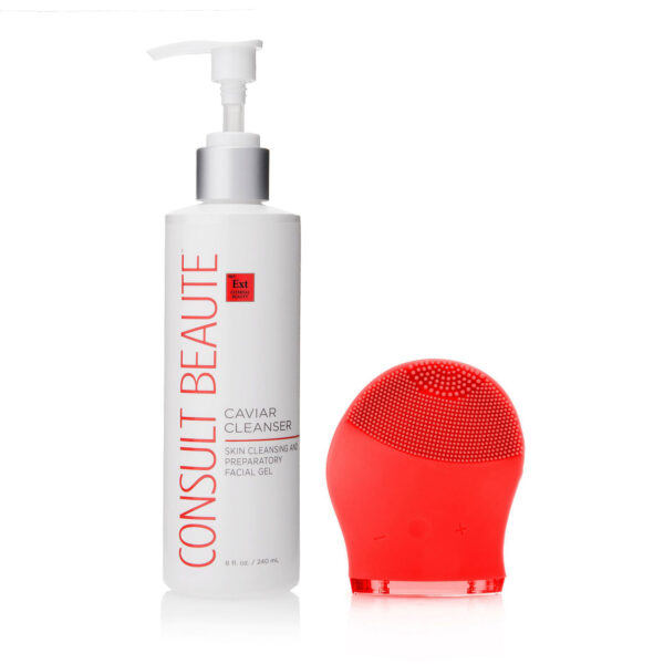 CB Multi Speed Sonic Cleansing Tool w Supersize Caviar Cleanser 32 oz red